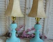 Vintage Blue Upcycled Vintage Mini Glass Lamps Aqua Blue  Desk Lamp light