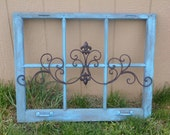 Made To Order Vintage Rustic Turquoise Wooden Window Frame Wall Decor Hanging