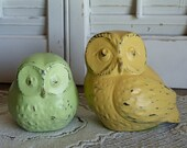 Upcycled Vintage Chalkware Set of 2 Green and Yellow Summer Owls Cottage Chic owls Rustic Distressed Decor