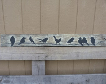 Farmhouse Style Yellow  Rustic Country Birds Silhoutte Wall Decor Distress Wood Panel Art Board Cottage Chic Singing Birds Wall hanging