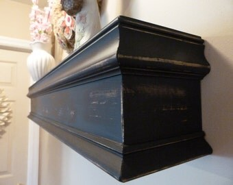 "Black 48""L Wood Mantel, Floating Shelf, Farmhouse Style, Black, Mantel, Shelf, Fireplace, Wall Hanging, Mothers Day"