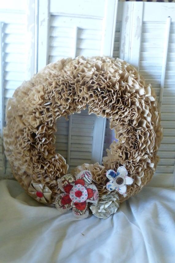 Paris Chic Paper Wreath Fabric Paper Flowers Vintage Buttons Cottage Wall hanging Decor Cottage Chic