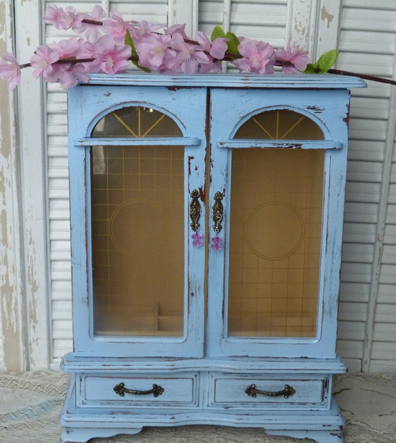 Shabby Chic Ocean Blue Tall Jewelry Box Distressed wooden Jewelry Holder Organizer