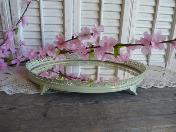 Shabby Chic Sage Green Mirror Jewelry Key Tray Cottage Style Decor French Country Parisian Chic