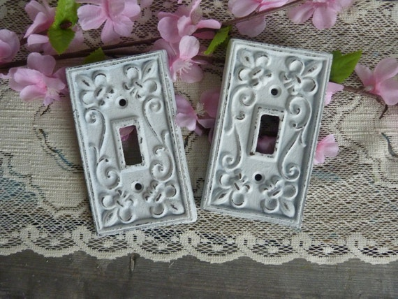 Fleur De Lis Iron White Switch Plate Cottage Chic French Apartment Wall Decor Shabby and Chic