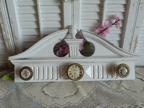 Upcycled White Necklace Wooden Rack Holder Key Rack Holder Apartment Decor Wall Hanging Cottage Chic  Shabby and Chic