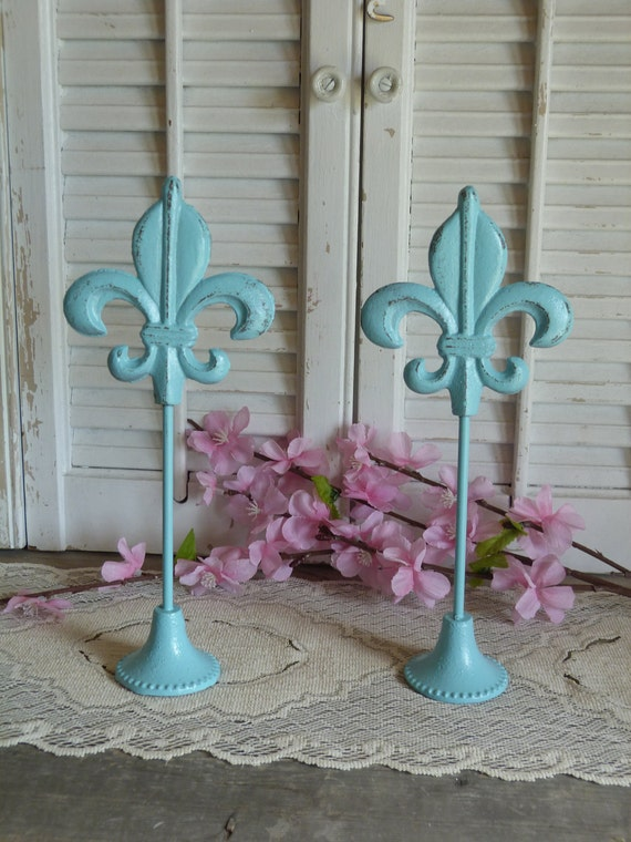 Cottage Chic Set of 2 Aqua Blue  Iron Fleur De Lis Table Shelf Mantel Stands Shabby and Chic Table top Decor Iron Fleur De Lis Beach DEcor