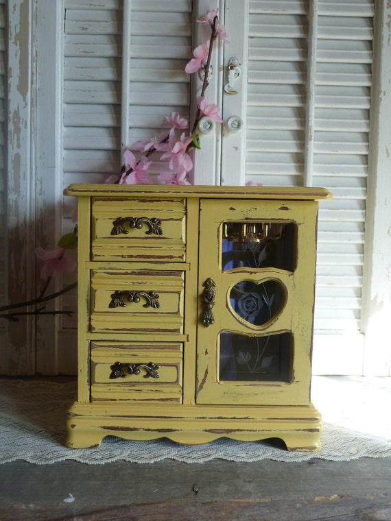 Upcycled Vintage Wooden Yellow Cottage Chic Farmhouse Style Jewelry Box Shabby and Chic Keepsake box