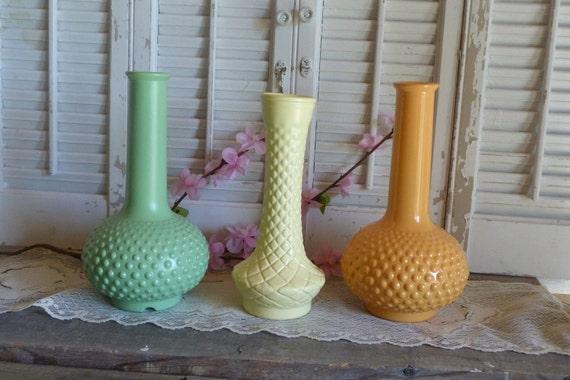 Vintage Upcycled Summer Set of 3 Tangerine Yellow Green Milk glass Vases Hobnail Mantel Shelf Decor Cottage Chic Apartment Decor