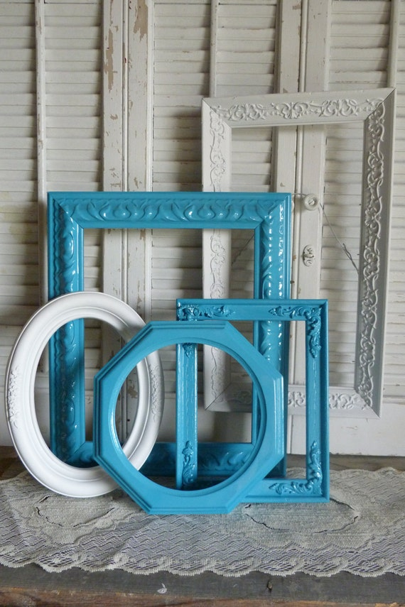 Upcycled Turquoise Blue Grouping Frame Set of 5 Wall Hanging Cottage Chic Wall Decor Beach Decor