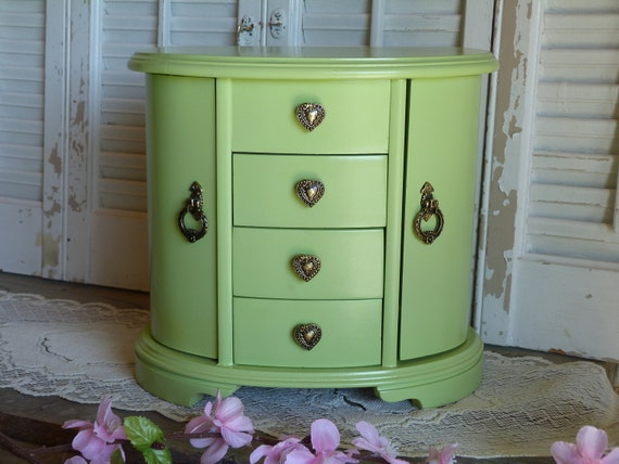 Mint Green Upcycled Retro Jewelry Box / Wooden Jewelry Box Holder / Jewelry Holder Apple Green