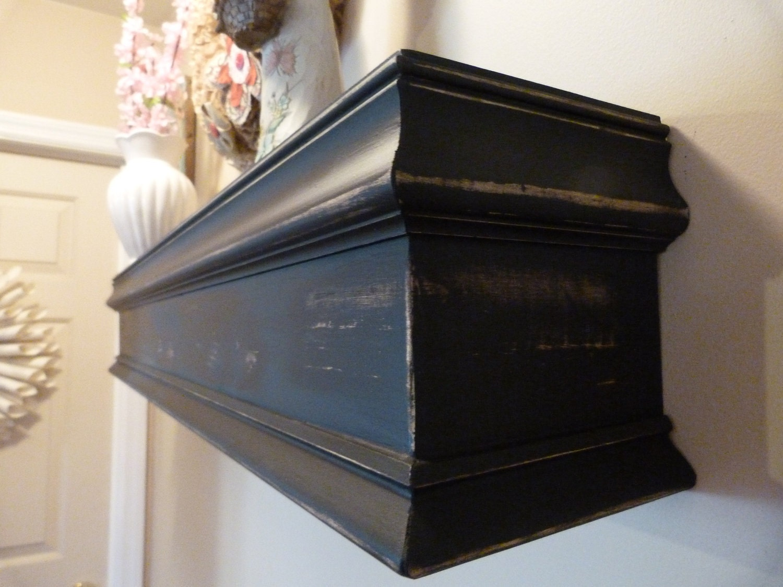 black 48l wood mantel floating shelf by rusticprairiecottage
