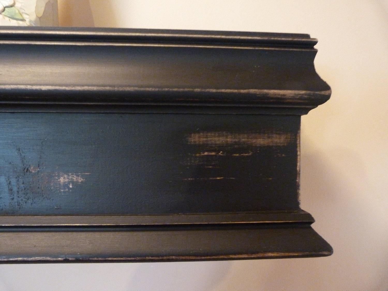 black 48l wood mantel floating shelf farmhouse style