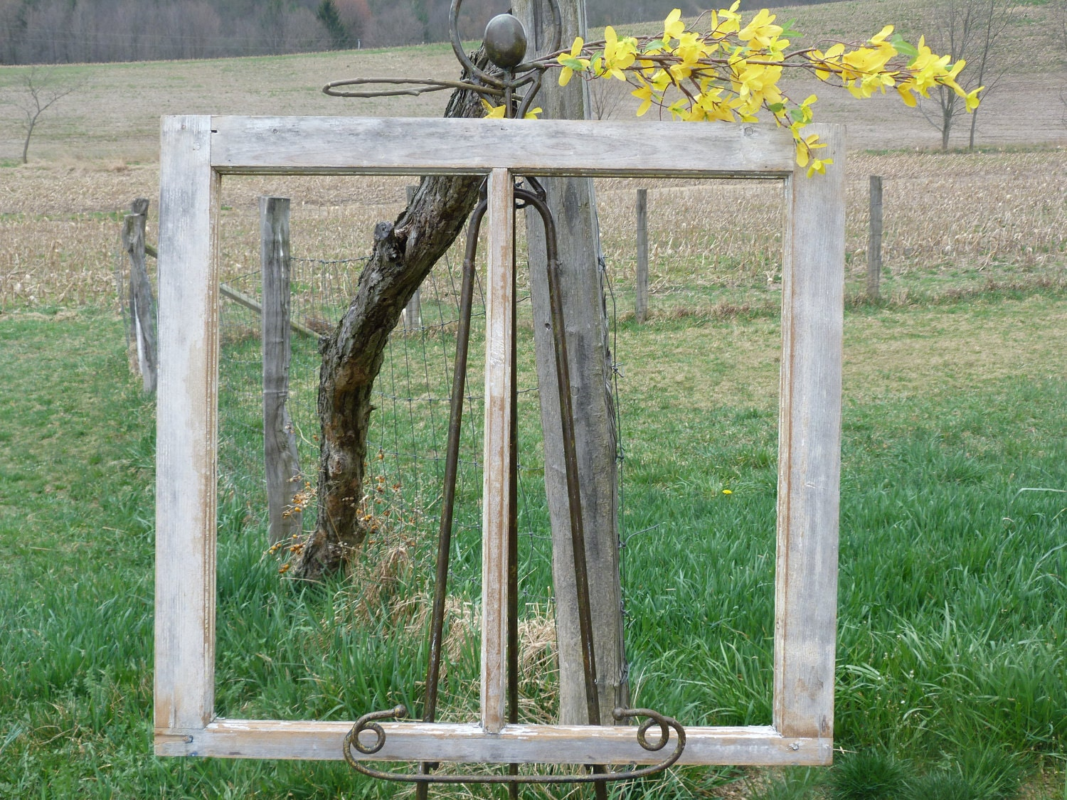 Vintage Wooden Window Frame Rustic Cottage by