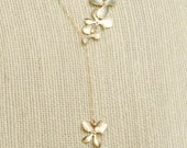 Orchid Lariat Gold Orchid Necklace Gold Flower Pendant Orchid Bouquet Orchid Jewelry Wedding Jewelry