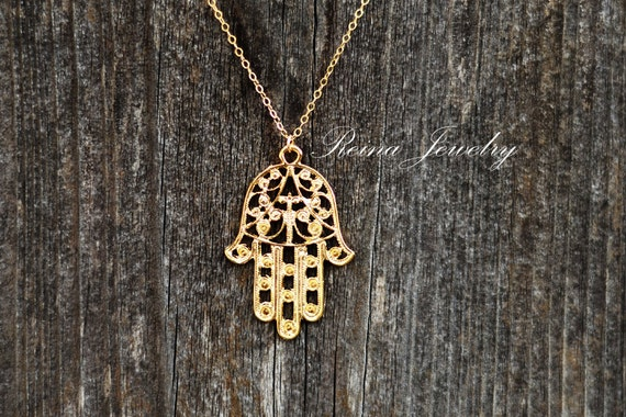 Hamsa Necklace - Hamsa Hand Jewelry - Fatima Hand - Evil Eye Necklace - Protection Necklace