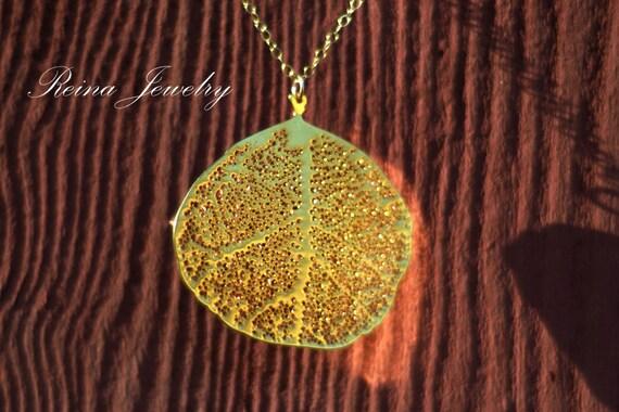 Gold Leaf Necklace Aspen Leaf Necklace Gold Necklace with Leaf Gold Bridesmaid Necklace Gold Leaf Pendant Necklace