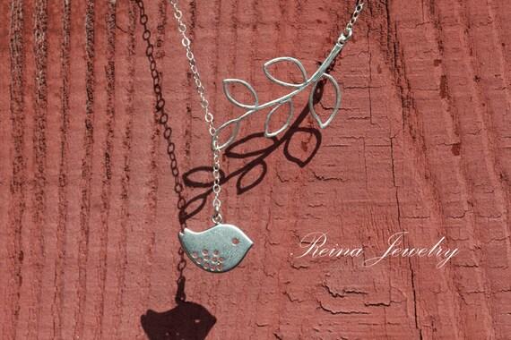 Bird Necklace Branch Lariat Branch Necklace Bridesmaid Necklace Wedding Jewelry