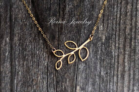 Gold Branch Necklace - Nature Jewelry - Gold Pendant Necklace - Bridal Jewelry