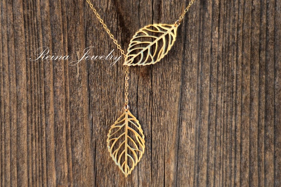 Gold Leaf Necklace Gold Lariat Necklace Lariat Style Necklaces Bridesmaid Gifts Wedding Jewelry Bridal Nature Jewelry