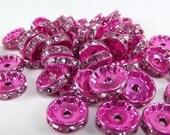 20 HOT pink Crystal Rhinestone Rondelle Spacers 12mm