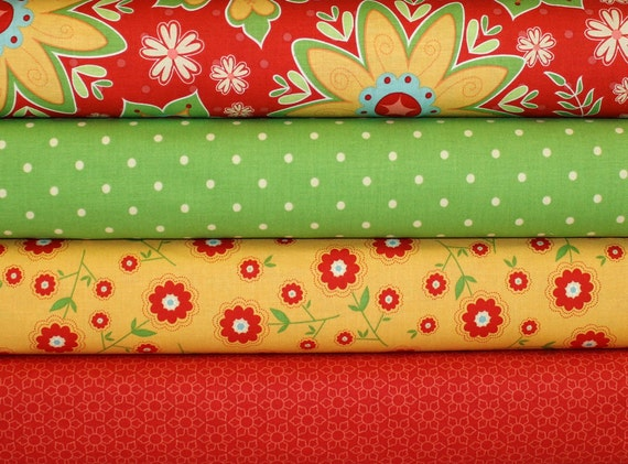 Delighted by The Quilted Fish for Riley Blake - Red - Half Yard Bundle - 2 Total