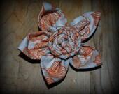 Orange & Cream Vintage Inspired Flower Hair Clip/Pin Small