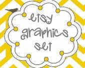 Chevron Canary Etsy Shop Set