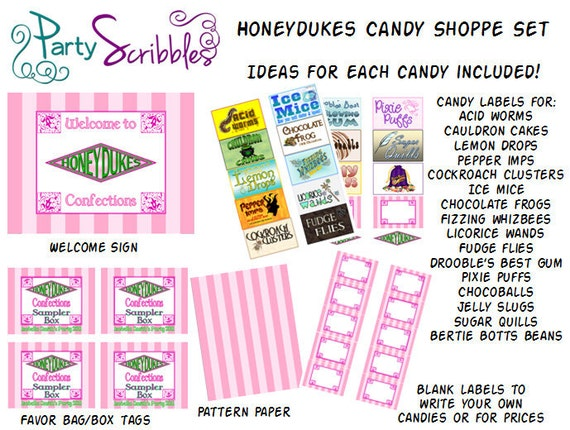 Hogwarts Wizard Honeyduke Candy Store Sign Amp Favors Set