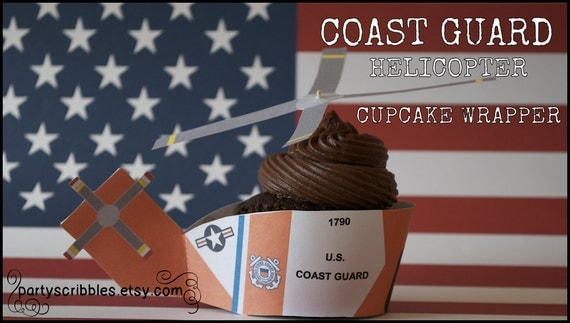 Coast Guard Helicopter Cupcake Wrappers with Rotor Toppers INSTANT DOWNLOAD
