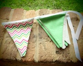 fabric pennant banner in pink/green chevron