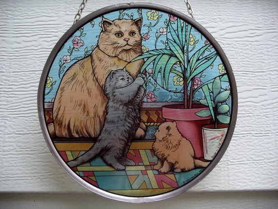 Colorful Cat Family Sun Catcher - Window Art  - Vintage 1989