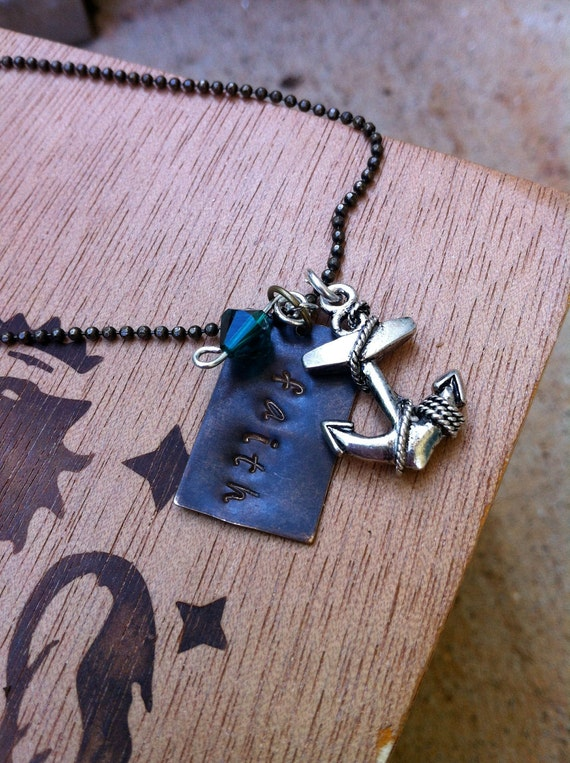 "Handstamped Vintage Style Necklace ""Faith"" with Swarovski Crystal & Anchor Charm"