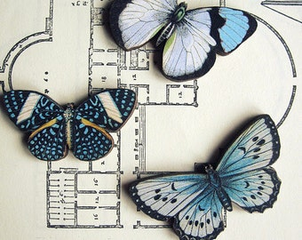 Wood Butterfly Brooch