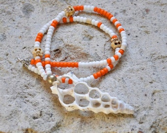 Shell Necklace with Skulls Beach Jewelry