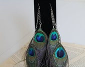 ON SALE Long Peacock Feather and Silver Chain Earrings