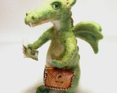 Needle Felted Art Green Dragon OOAK ,  miniature soft sculpture.