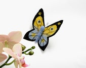 Butterfly Felt Brooch Pin  yellow and blue  in a gift box