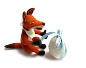 Needle Felted toy Wool Animals red fox with egg surprise crocodile  in a gift box  Soft Sculpture, OOAK