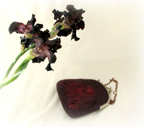 RESERVED for LENA Nuno Felted purse cosmetic bordo Metal Frame for evening wrap