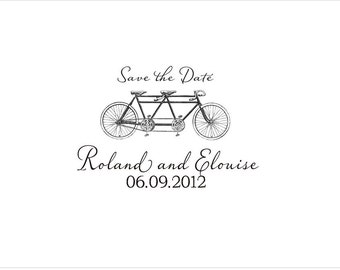 Save the Date Stamp - Rollie and Elouise - Wood Handle Rubber Stamp