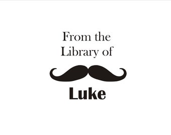 From the Library of Custom stamp book plate - Moustache