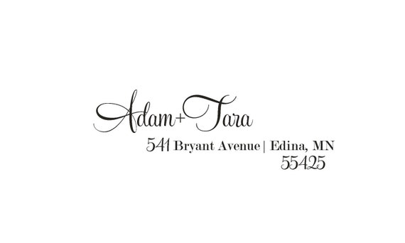 Personalized Address Stamp, Rubber or Self Inking Stamp - Tara & Adam