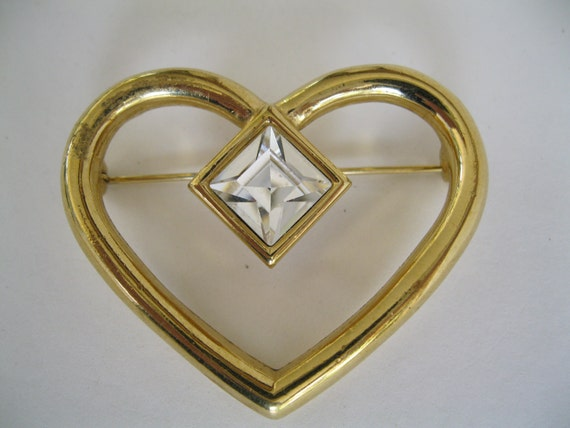SALE 50 percent off  Brooch Vintage Gold Tone Heart Shape with Large Rhinestone signed Givenchy