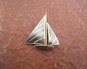 Vintage Damascene Sailboat Brooch Spain