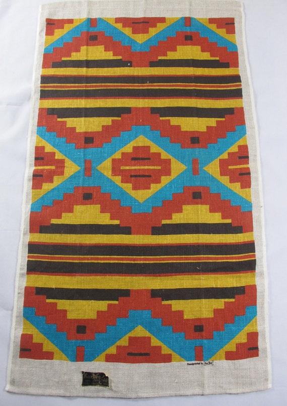 Vintage Kay Dee Aztec Design Pure Linen Tea Towel, Unused