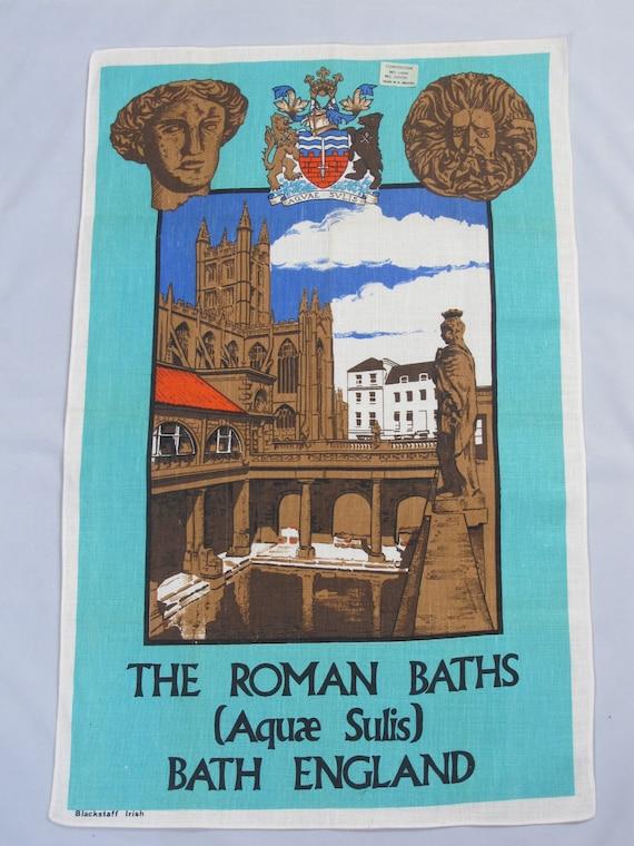 "Cotton Tea Towel ""The Roman Baths"" Bath Spa UK, Cotton Dish Towel"