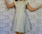Yellow and Ivory 1950's Sundress with a full skirt