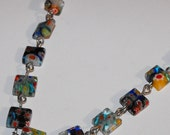 "20 1/4"" Japanese Style Linked Necklace Very Pretty Glass Beaded Charms All Around"