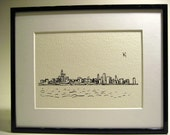 A4 Chicago Skyline Viewed from Lake Michigan Ink Drawing Print